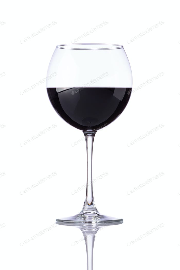 Glass Red Wine Isolated on White
