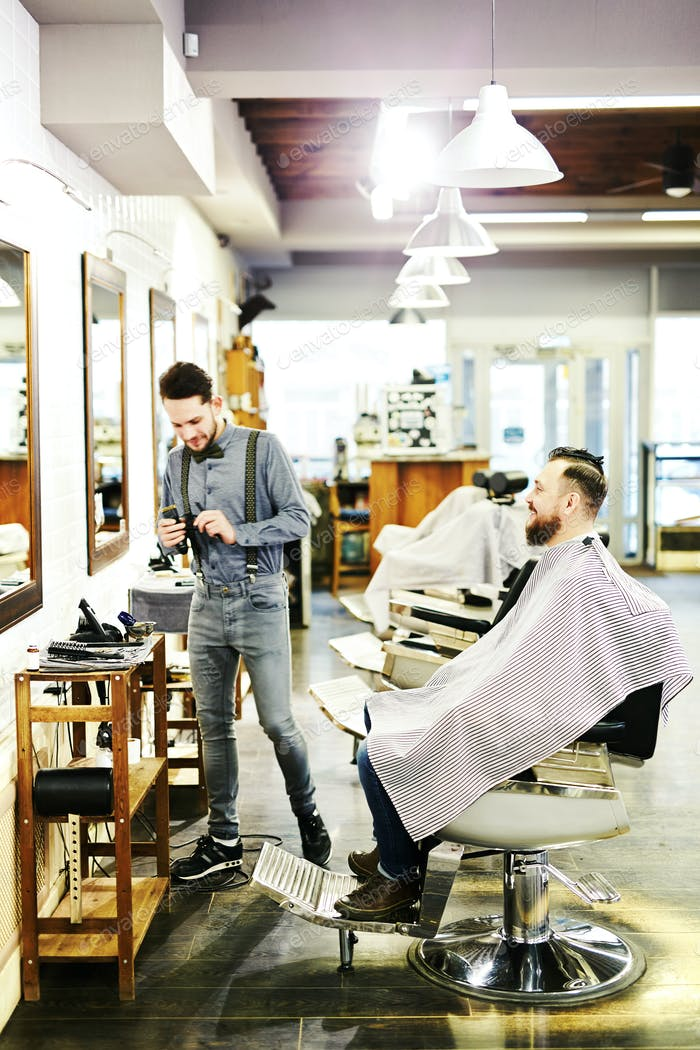 Barber at work