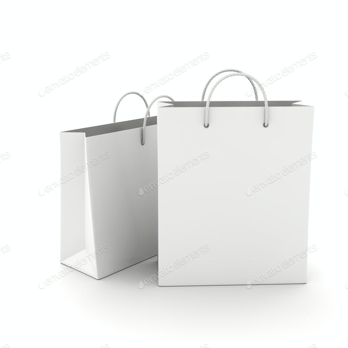 Two Empty Shopping Bag on the white