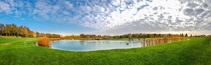Pond and green meadow in autumn park, panorama