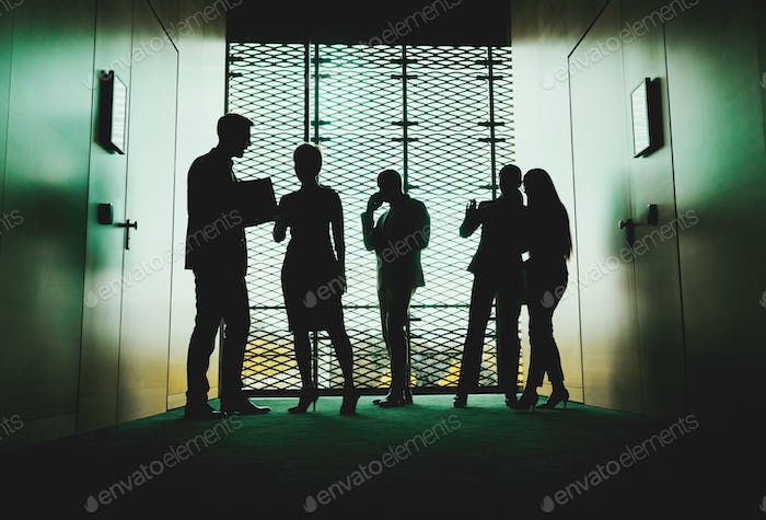 Silhouettes of Business People in modern office interior