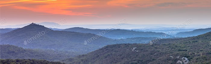 Panorama Orange Sunrise over Cevennes national park