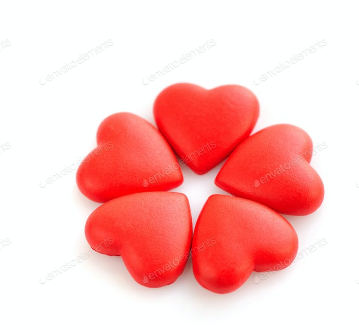 Decorative red hearts isolated on white