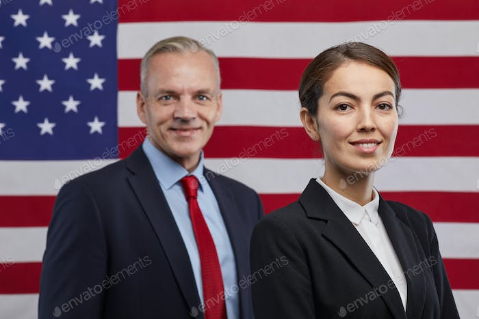 Smiling Politicians against American Flag
