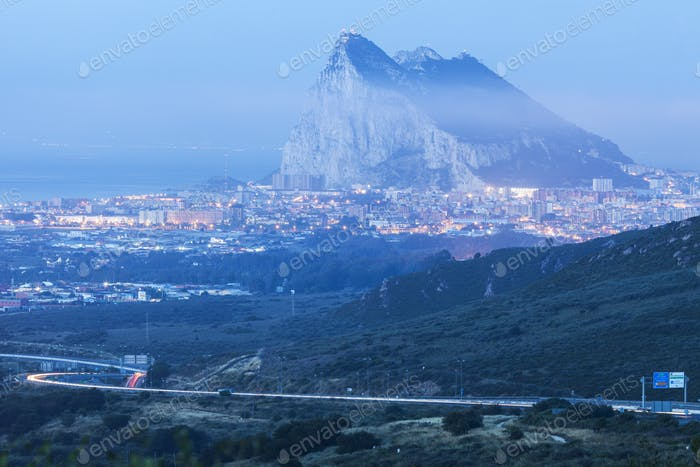 Panorama of Gibraltar and La Linea de la Concepcion
