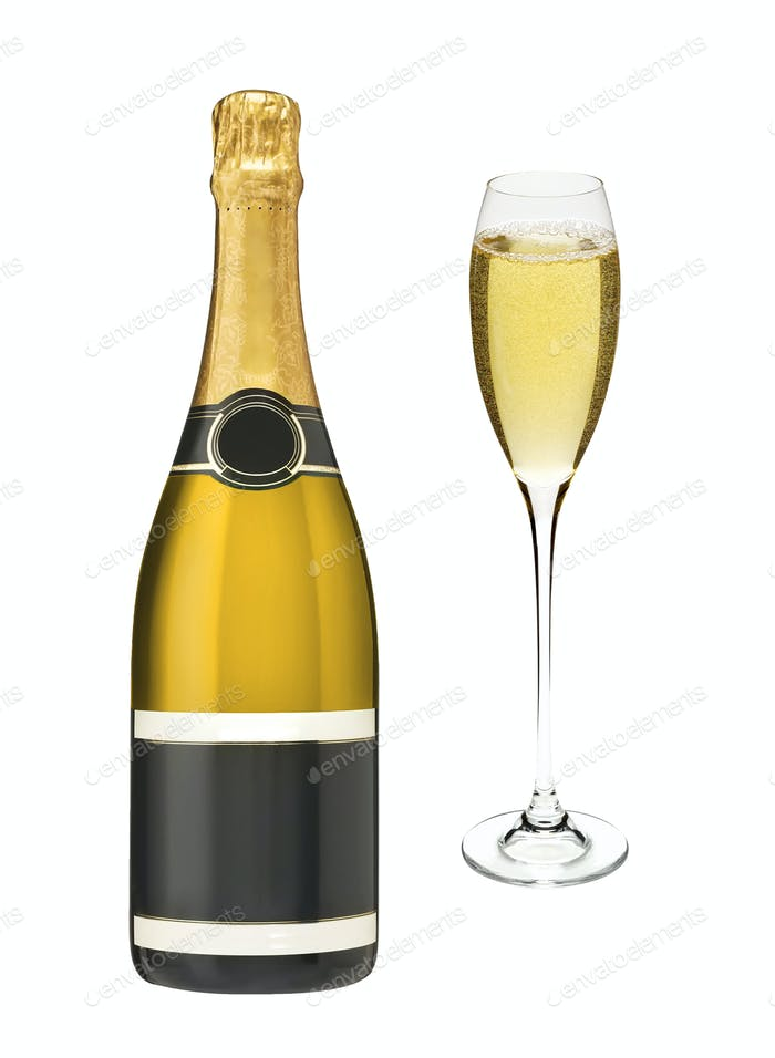 bottle and glasses of champagne