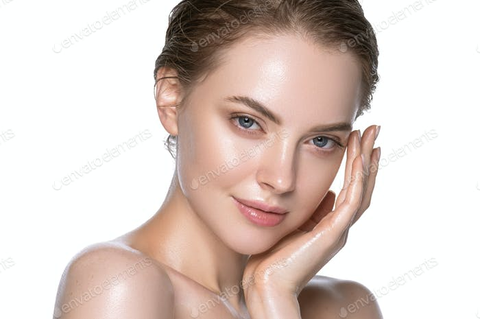 Super girl healthy hydration clean skin face beautiful model neck shoulders. Isolated white.