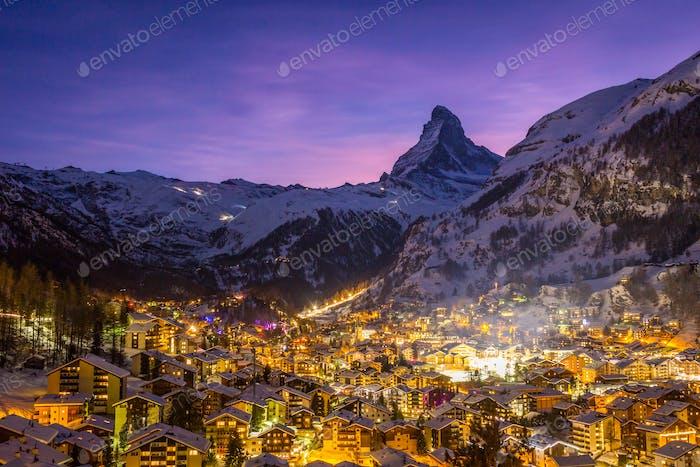 Zermatt Town and Matterhorn Mountain at Winter Night. Swiss Alps, Switzerland