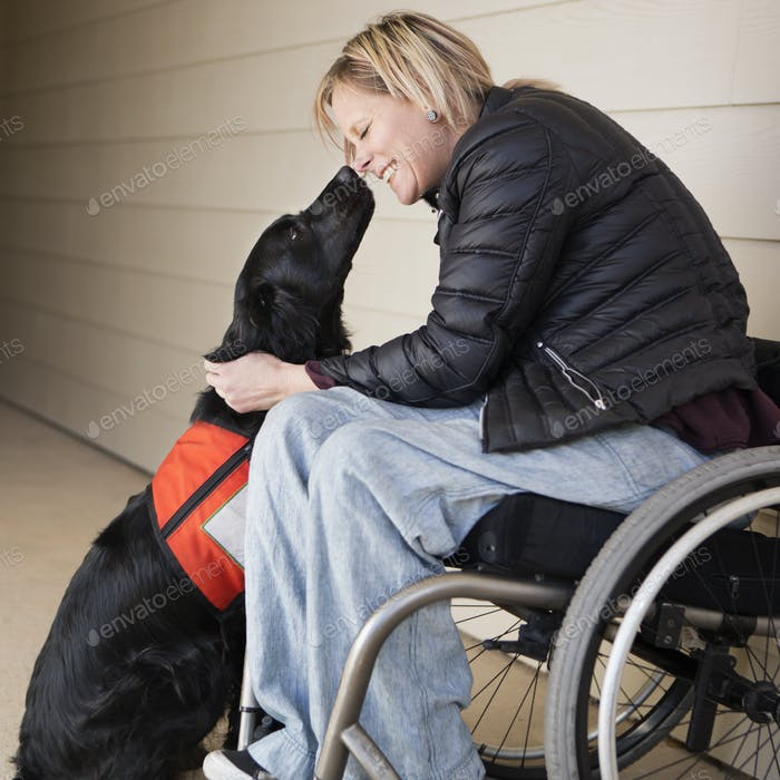 A mature woman wheelchair user with her service dog, a black labrador, leaning in towards each
