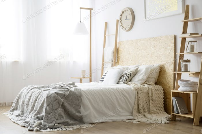 Side angle of white bed
