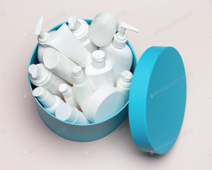 Open large round gift box filled with different cosmetic product