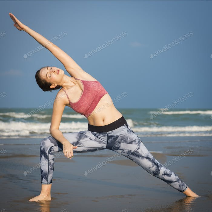 Yoga Exercise Stretching Meditation Concentration Summer Concept