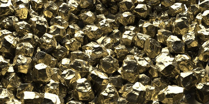 Luxury mineral concept. Gold nuggets on black background, texture. 3d illustration