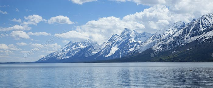 Grand Teton Mountains and Lewis Lake in Wyoming