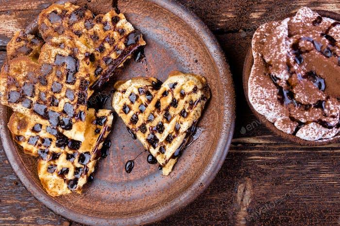 Belgian heart shaped waffle