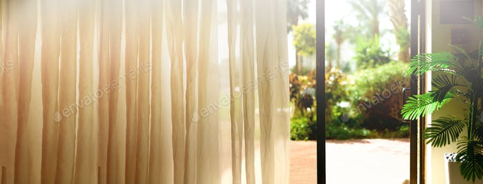 Tropical view background. Summer, travel, vacation and holiday concept. Open window, door and white