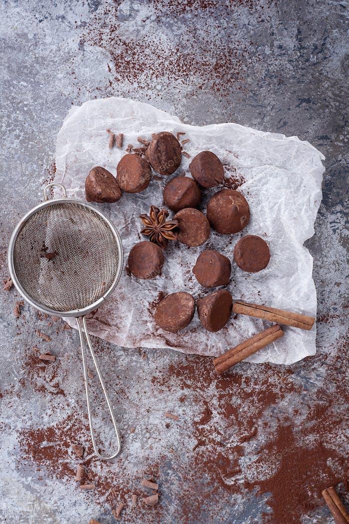 Home made chocolate truffles