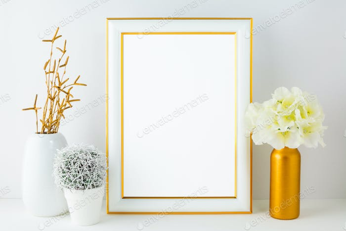White frame mockup with small cactus