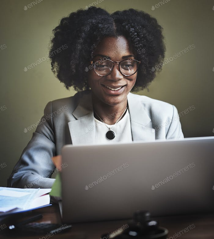 Businesswoman Working Computer Technology Concept