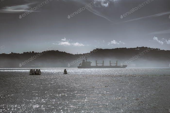 Verschiedene Schiffe auf einem nebligen Fluss