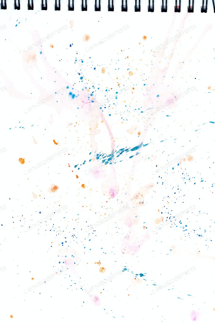 Bright watercolor blue and pink stain drips. Abstract illustration on a white background