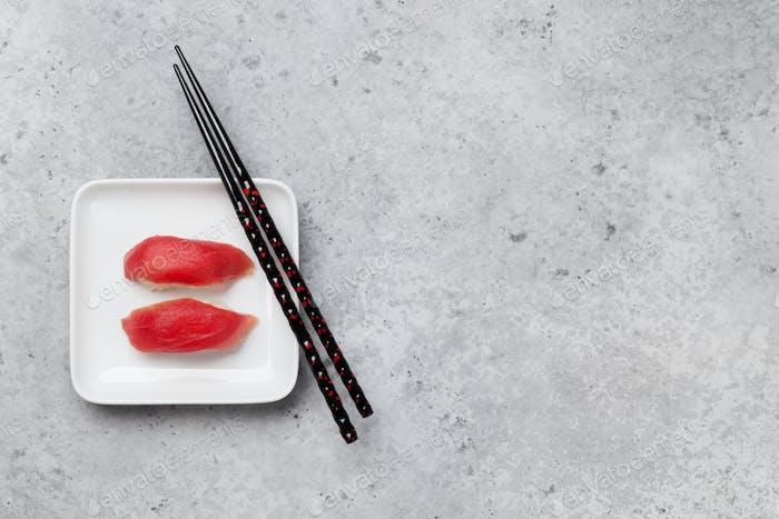 Japanese sushi set with tuna. Maguro