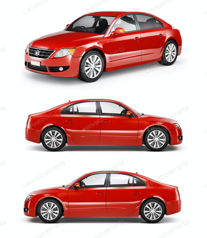 Three Red Sedans in a Row