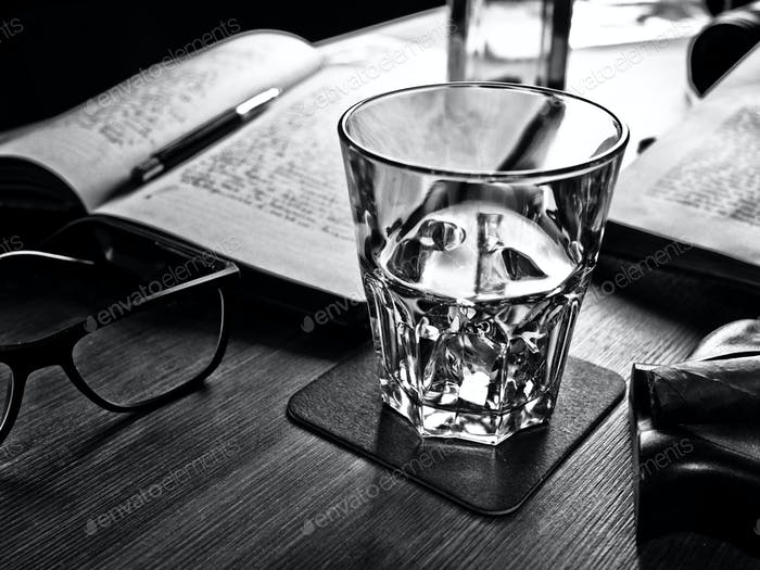 Whiskey on the rocks and scholar books