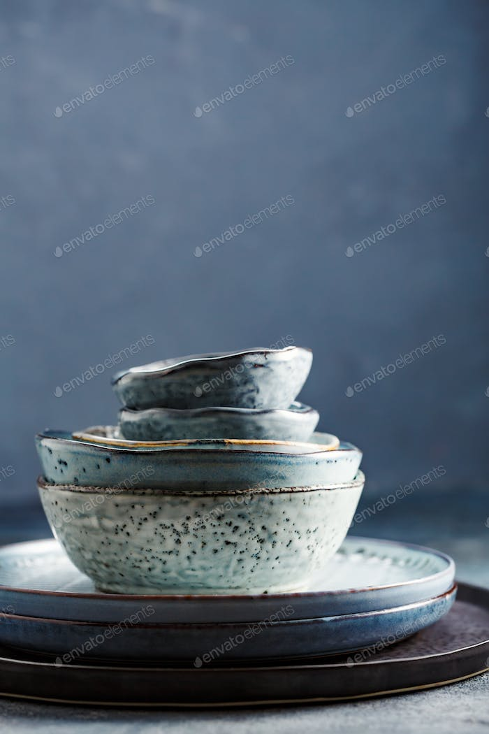 Tableware set on a blue background