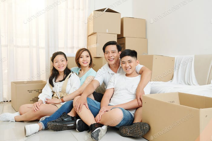 Happy family moved in new house