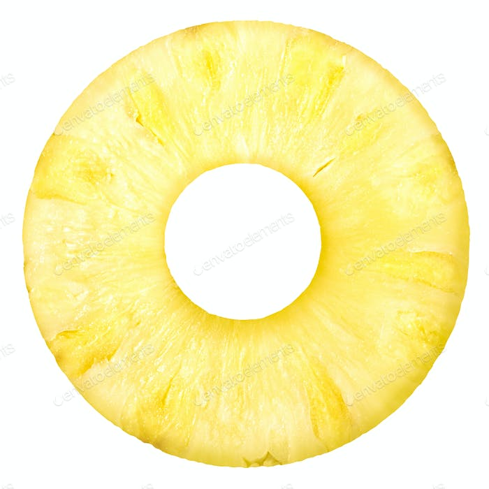 Pineapple ananas comosus round slice, top