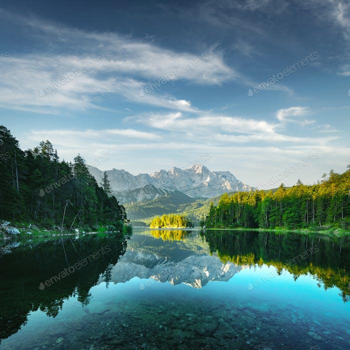 Fantastic view on mountain lake Eibsee