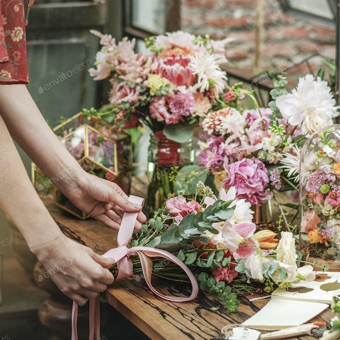 Florist in a shop