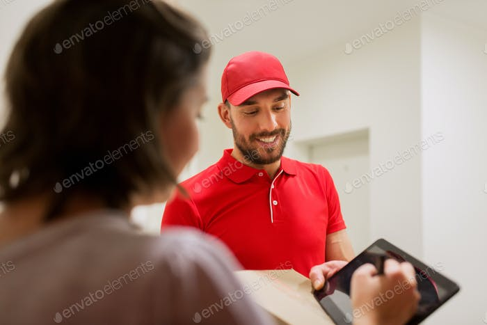 delivery man with box and tablet pc at customer