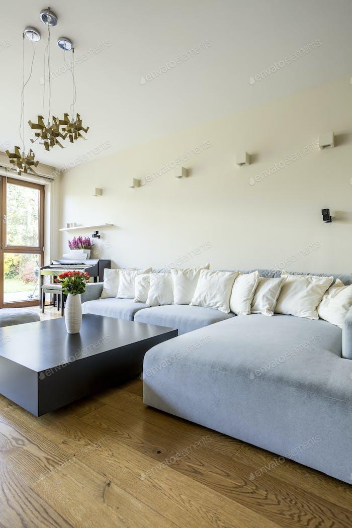 Pastel sofa set in bright room