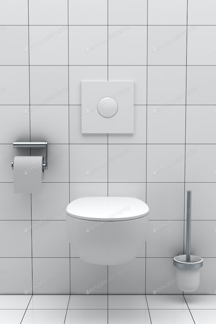 modern toilet with white tiles on wall and floor