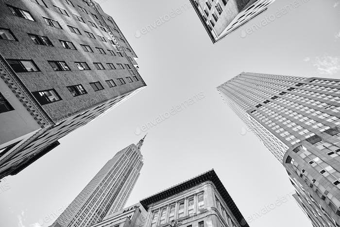 Looking up at Manhattan skyscrapers, New York.