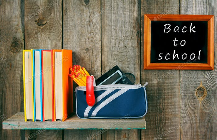 Back to school. Books and school tools .