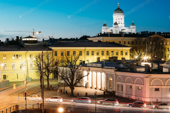 Helsinki, Finland. Night Evening View Of Helsinki Cathedral And