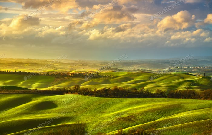 Tuscany misty panorama, rolling hills, fields, meadow. Italy