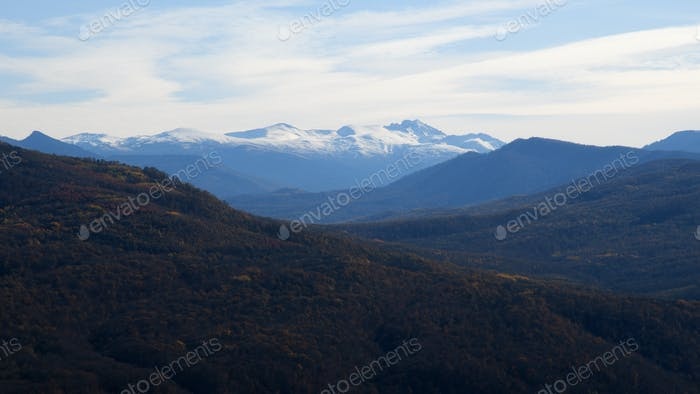 Panoramic mountain landscape in autumn