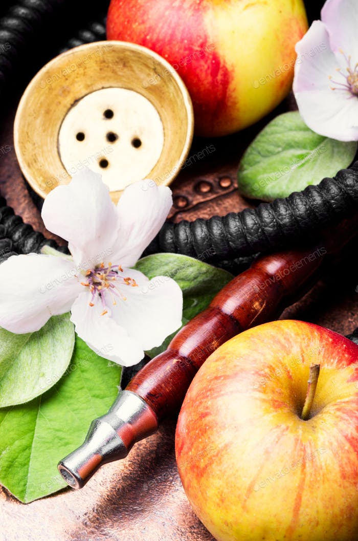 Stylish oriental shisha with apple