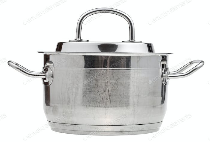 small stainless steel saucepan covered metal lid