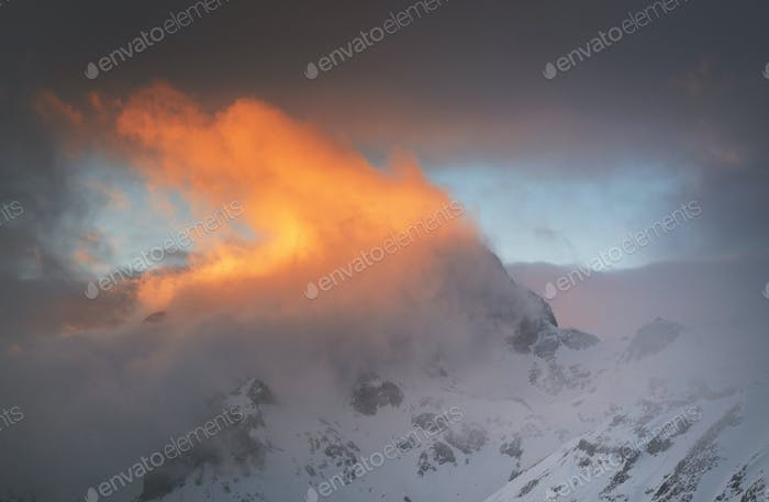 Fiery sunset in the mountains of Julian Alps