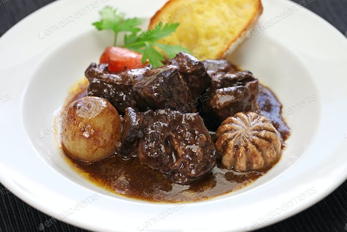beef  bourguignon, beef stewed in red wine