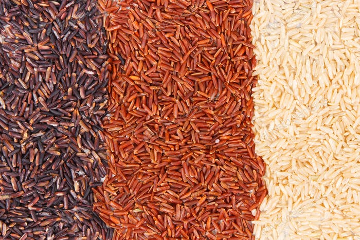 Heap of brown, black and red rice as background, healthy, gluten free nutrition concept