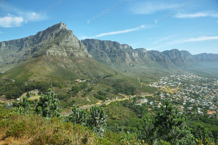 Table Mountain and twelve apostles