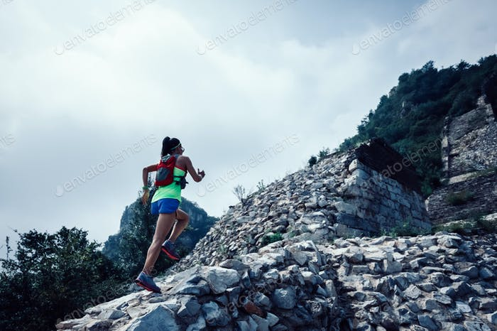 Ultra marathon runner running at great wall in china
