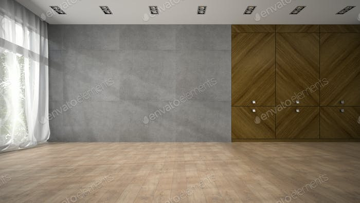 Empty modern design room with wooden closet 3D rendering