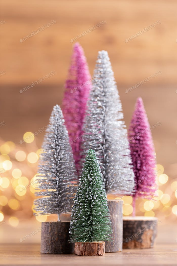 Colorful Christmas tree on bokeh background.